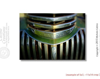 Chevy Truck Grill Photo Rustic country decor Man Cave art Men's office decor Vintage Green Truck Art Retro Truck Art Den Decor Gearhead Art