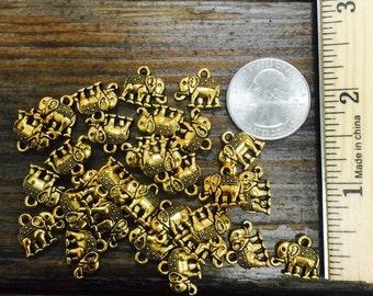 Tini gold elephant charms(30pc)