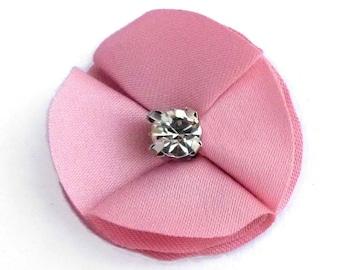 Set of 5 small appliques round 3 cm fabric Pink Rhinestone Crystal white original