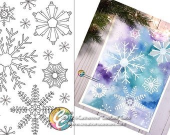 printable coloring page - snowflakes