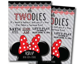 Twodles Girly Custom Digital Printable Mini Mouse RED Bow Two Polka Dots Girls Birthday Invitation Customizable
