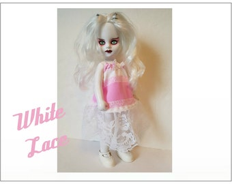 Living Dead Doll Clothes - WHITE LACE Dress - Handmade Custom Fashion by dolls4emma