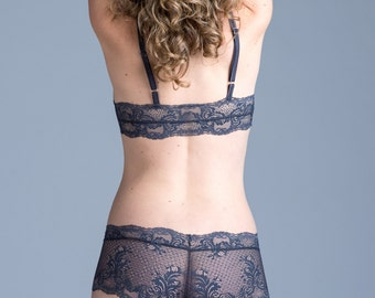 Lace Panties - Gray 'Bird of Paradise' Boyshort Style Panty - Custom Fit Women's Lingerie