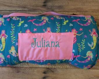 Stephen Joseph mermaid nap mat,personalized nap mat,kindergarten nap mat