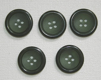 Set of 5 round vintage buttons. Olive green colored buttons.  B33