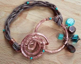 Teal & Copper Spiral Wrap Bracelet