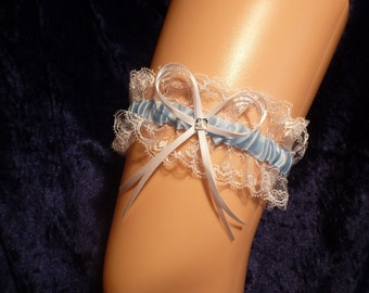 Garter for the bride wedding classic traditional blue with tip - mean day