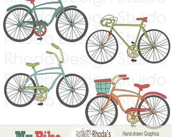 Retro Bikes Digital Clip Art Vintage Bicycles Set 1 (Retro)