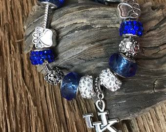 Kentucky Wildcats bracelet: UK Wildcats charm bracelet, Kentucky jewelry, wildcats charm bracelet, Kentucky jewelry, UK Wildcats jewelry