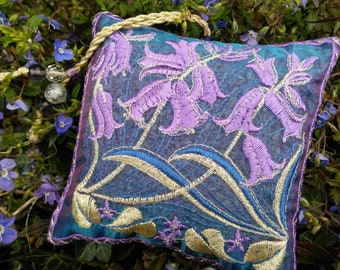 BLUEBELLS, Embroidered  Lavender Bags, Spring gift, Blue, Flowers, Birthday, Host gift, Scented Pouch,