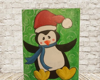 Christmas Penguin 16x20 Acrylic Painting on Canvas