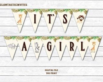 It's a Girl Banner, Safari Baby Shower Banner, Jungle Baby Shower Banner, Baby Shower, Girl Shower Banner, Baby Girl Shower, Digital Banner
