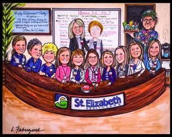 Custom caricature, retirement gift, retirement for women, nursing caricature,retirement for men, retirement caricature, retirement cartoon,