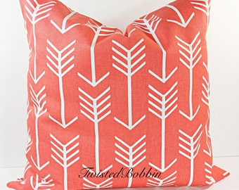 Coral Pillow. Pillow Cover.  coral and White. arrow.Cushion.Covers.Pillow Case, Fits  16x16