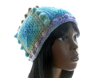 Vegan Crochet Hat, 5-Square Beanie Hat with Bobbles, Medium to Large Size