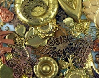 Grab Bag of 10 Vintage Brass Jewelry Components