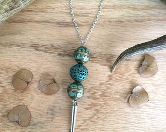 Necklace ~ Large Metal Beads With Spike