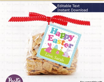 Editable Printable Easter Tag , Party Favor Sticker, Cute Happy Easter Tag, Round or Square Topper, Instant Download  -D534