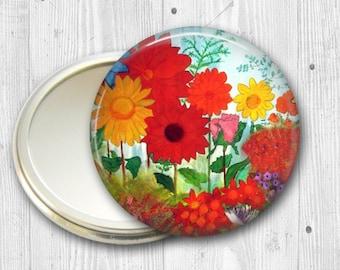colorful garden pocket mirror,  original art hand mirror, mirror for purse, bridesmaid gift, stocking stuffer MIR-502