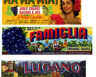 12 Different Italian Themed Grape Crate Labels - California