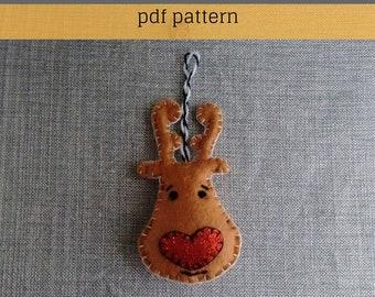Felt Pattern- Reindeer Pattern-Felt Christmas-Decor-Christmas Ornament -Felt PDF Pattern-Felt Reindeer Pattern-Felt Christmas Patterns