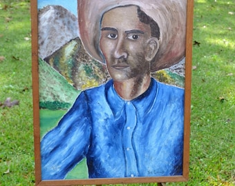 Vintage Cowboy Painting Framed Folk Art Wall Decor Country Western Theme Signed Joe Camp Americana Panchosporch