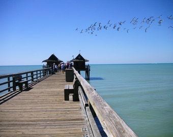 The Pier, Water, Blue, Sky, Birds, Original Photograph, Handmade, Wood