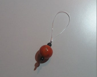 Orange spots stitch marker set
