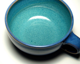 One Handled Cereal Bowl - Blue and Teal Pottery