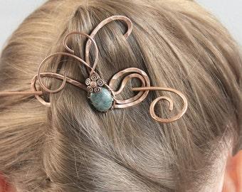 Hair Pin Handmade, Hair Stick, Copper Hair Slide, Green Jade Hair Barrette, Hair Clip, Hair Accessories Gift for Women Gift for Mom for Her
