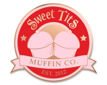 Sweet Tits Emblem - Rose Gold Soft Enamel Pin- by Denis Caron - Corvink Limited Edtion