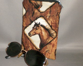 Horses Eyeglass or Sunglasses Case - Zipper Top - Padded Zippered Pouch