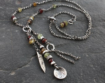 Sterling silver boho garnet necklace, gemstone lariate necklace, tribal necklace, oxidized silver multicolor necklace, bohemian jewelry