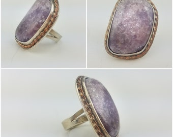 Amethyst Druzy Silver and Copper Statement Ring