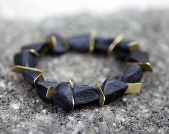 Onyx Bracelet, Black Stone Bracelet, Onyx and Brass, Rustic bracelet, Black and Gold, Onyx Jewelry, Gemstone Jewelry, Dark Jewelry