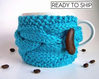 Coffee Cozy, Knit Cup Cozy, Coffee Mug Cozy, Tea Cozy, Coffee Cup Sleeve, Coffee Cup Cozy, Coffee Mug Sleeve, Coffee Sleeve, Blue Turquoise