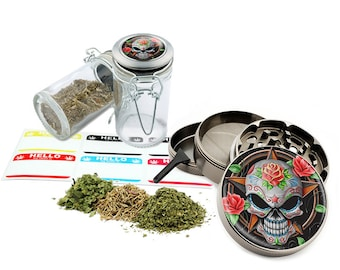 "Sugar Skull - 2.5"" Zinc Alloy Grinder & 75ml Locking Top Glass Jar Combo Gift Set Item # G021615-040"