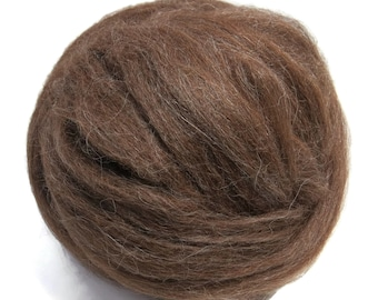 Baby Alpaca wool roving Medium Brown