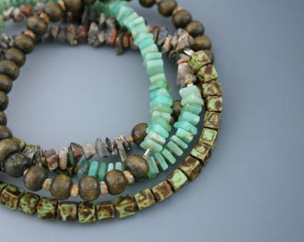 Long necklace in greens. No clasp. Layering necklace, light weight and unique.