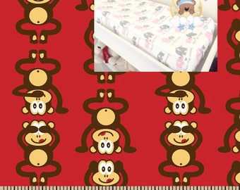Flannel Contoured Monkey Changing Pad Cover 100% Cotton Cover Flannel Monkeys Nursery Baby Boy Girl Changing Pad Covering
