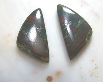 Bloodstone matching pair two cabochons - green red Jasper Cab triangle - lapidary blood stone genuine natural coyoterainbow one inch 1 -tri8