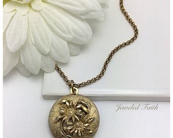 Locket Necklace Vintage Flower Locket Necklace Vintage Locket Gold Locket
