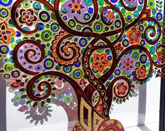 Tree of life art 13x13 Glass painting Glass art Family tree Bohemian decor