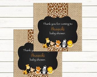 Safari Baby Shower Favor Tags,  Jungle Favor Tags,   216 Printable