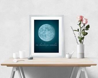 Moon Sanskrit Mantra Poster – Instant Digital Download – 11 x 14 inches