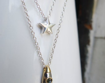 Celestial Rocket ship and Star, Mother's Day Science Teacher Gift Necklace Layering Celestial Constellation Geekery Layered 18kt Gold Sci Fi