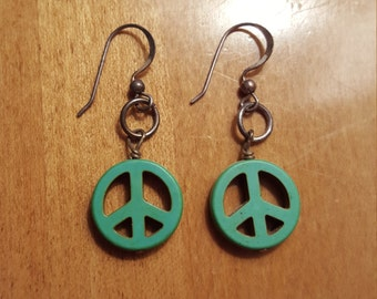Made With Upcycled Wire And Turquoise Beads Sterling Silver Turquoise Peace Sign Dangle Earrings