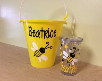 Gift set-Personalized sand pail, bucket with shovel and acrylic insulated tumbler - name with bumble bee or any other design, colors