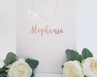Large White Personalized Gift Bags- Bridesmaid gift bags,wedding gift bag,family or friend gift bag