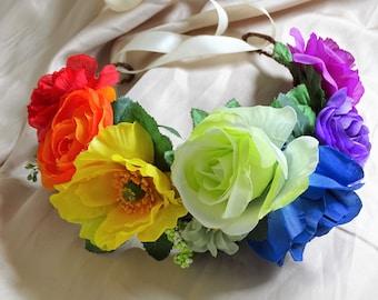 Rainbow Flower Crown, Floral Crown, Floral Headpiece, Hair Wreath